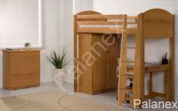 Verona Highsleeper Set with Pullout Desk | Antique